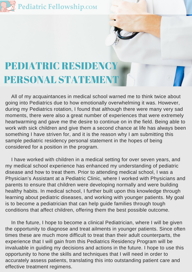 professional sample pediatric residency personal statement